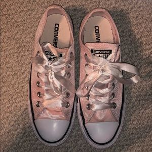 NWOT Pink Converse with Silk Laces